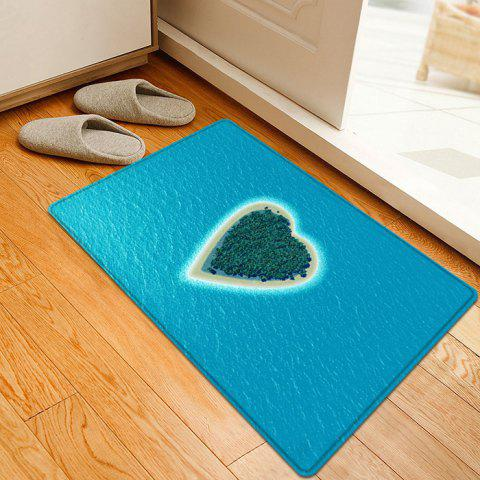 Chic Heart Island Pattern Water Absorption Flannel Area Rug - W16 INCH * L24 INCH LAKE BLUE Mobile
