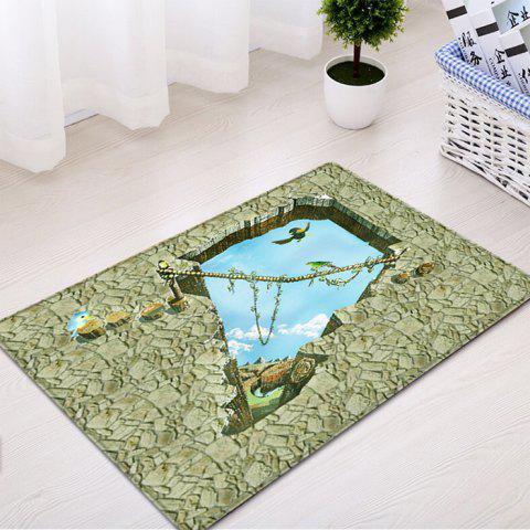 Discount Floor 3D Art Pattern Water Absorption Flannel Area Rug - W16 INCH * L24 INCH SAGE GREEN Mobile