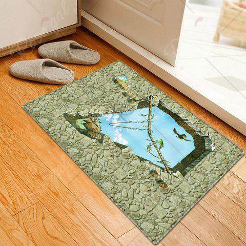 Outfits Floor 3D Art Pattern Water Absorption Flannel Area Rug - W16 INCH * L24 INCH SAGE GREEN Mobile