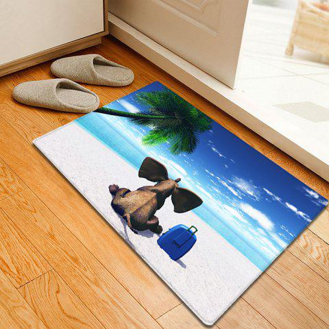 Cheap Elephant Beach Holiday Pattern Water Absorption Flannel Area Rug - W16 INCH * L24 INCH BLUE Mobile
