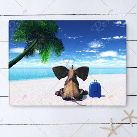 Chic Elephant Beach Holiday Pattern Water Absorption Flannel Area Rug - W16 INCH * L24 INCH BLUE Mobile