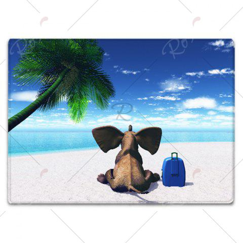Latest Elephant Beach Holiday Pattern Water Absorption Flannel Area Rug - W16 INCH * L24 INCH BLUE Mobile
