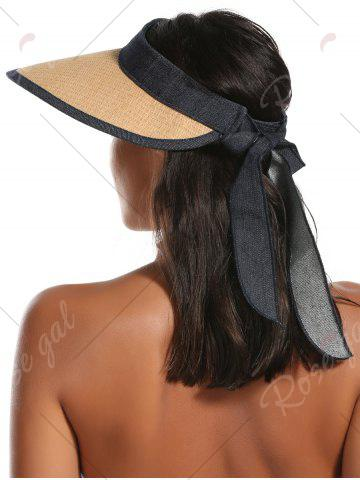 Unique Wide Brim Bowknot Band Open Top Straw Hat - LIGHT COFFEE  Mobile