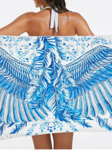 Buy Feather Print Beach Throw - ONE SIZE LIGHT BLUE Mobile