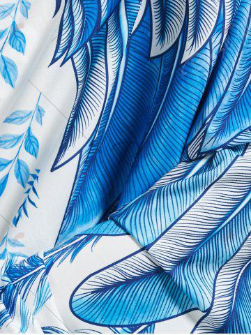 Latest Feather Print Beach Throw - ONE SIZE LIGHT BLUE Mobile