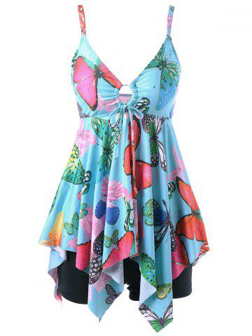 Butterfly Print Plus Size Handkerchief Tankini Set - Light Blue - 4xl