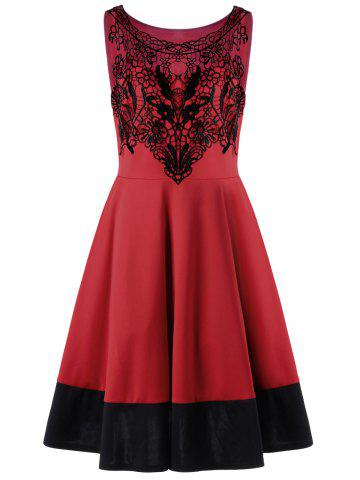 Hot Crochet Panel Plus Size Flare Cocktail Dress RED 5XL
