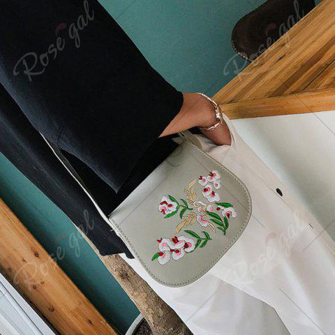 Unique Flower Embroidery Saddle Bag - GRAY  Mobile