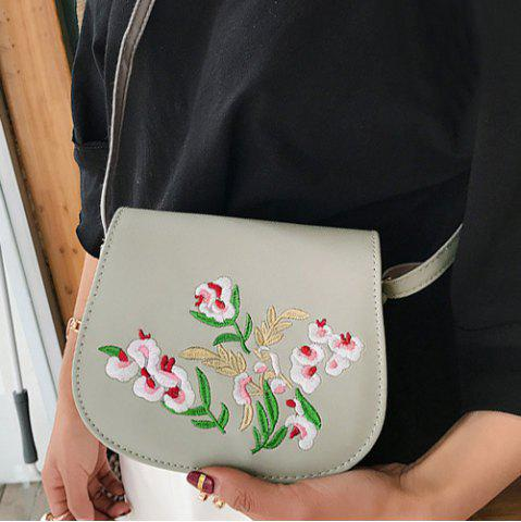 Latest Flower Embroidery Saddle Bag - GRAY  Mobile