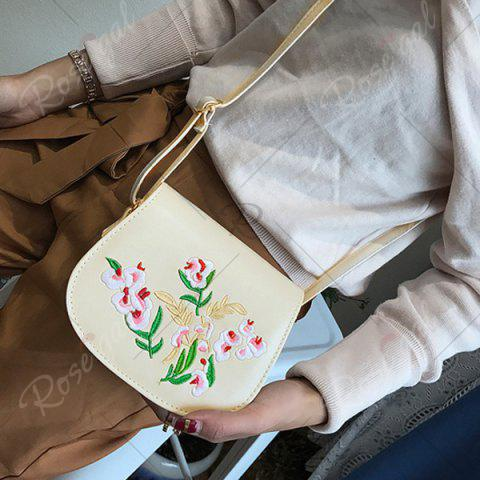 Latest Flower Embroidery Saddle Bag - OFF-WHITE  Mobile