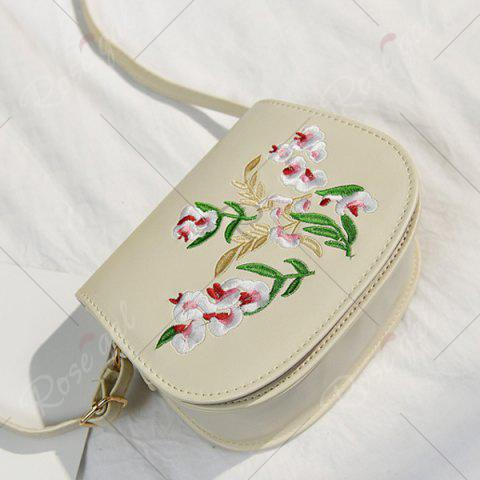 Unique Flower Embroidery Saddle Bag - OFF-WHITE  Mobile