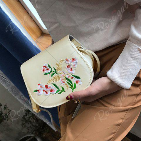 Buy Flower Embroidery Saddle Bag - OFF-WHITE  Mobile