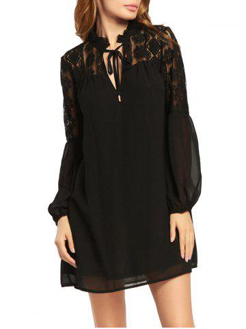 Latest Lace Trim Long Puff Sleeve Chiffon Dress - M BLACK Mobile