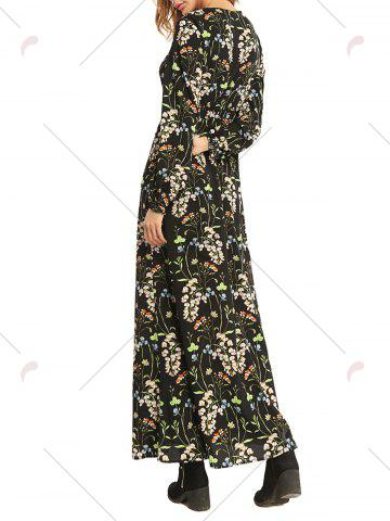 New Floral High Waist Long Sleeve Flowing Maxi Dress - M COLORMIX Mobile