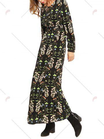 Affordable Floral High Waist Long Sleeve Flowing Maxi Dress - M COLORMIX Mobile