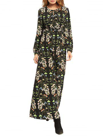 Chic Floral High Waist Long Sleeve Flowing Maxi Dress - M COLORMIX Mobile