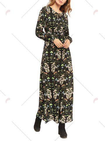 Affordable Floral High Waist Long Sleeve Flowing Maxi Dress - L COLORMIX Mobile