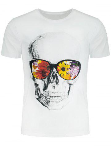 Short Sleeve Flowers and Skull Printed T-shirt - White - 2xl