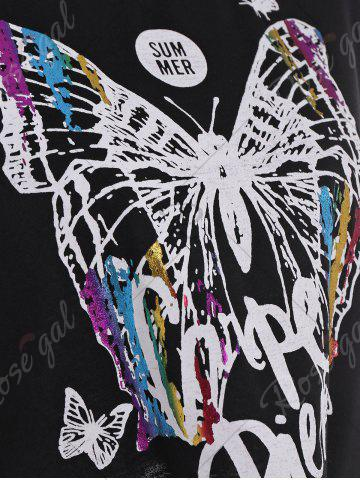 Outfit Cold Shoulder Self Tie Butterfly Print Tee - S BLACK Mobile