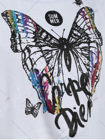 Shop Cold Shoulder Self Tie Butterfly Print Tee - XL WHITE Mobile