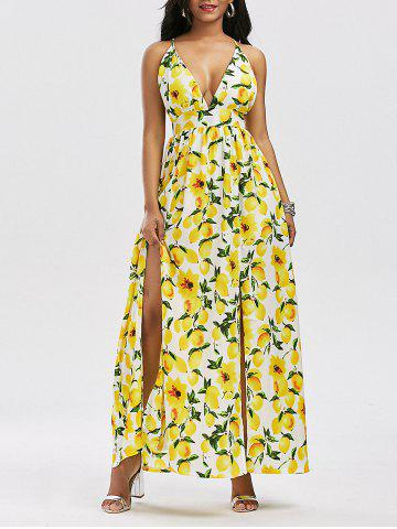 New Lemon Print Backless Split Cami Maxi Dress YELLOW XL