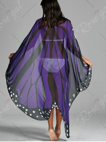 Unique Butterfly Wing Beach Cover Up - ONE SIZE LIGHT PURPLE Mobile