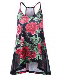 Mesh Insert Plus Size Floral Print Camisole