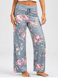 Floral Print Casual Drawstring Pants - DEEP GRAY