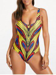 Backless Scoop Neck Print One Piece Swimsuit