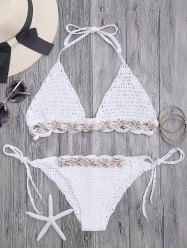Seashell Trim Crochet Bikini Set -