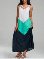 Crisscross Color Block Trapeze Maxi Slip Dress