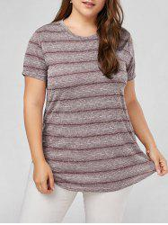 Plus Size Marled Stripe  Plain T-shirt