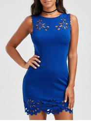 Hollow Out Bodycon Dress - BLUE