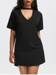 Low Cut T Shirt Choker Dress
