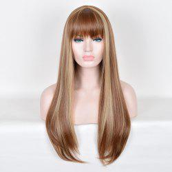 Full Bang Long Highlight Silky Straight Colormix Synthetic Wig - COLORMIX