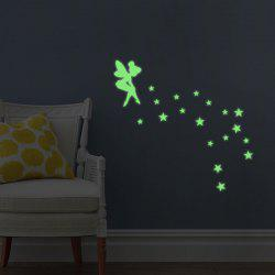 Creative Fluorescence Star Fairy Luminous Switch Wall Stick - NEON GREEN