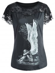Angel Print Plus Size Lace Trim Tee - BLACK