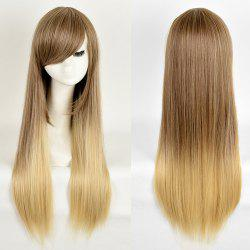 Side Bang Long Straight Ombre Synthetic Wig