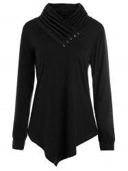 Buttons Long Sleeve Asymmetric Top