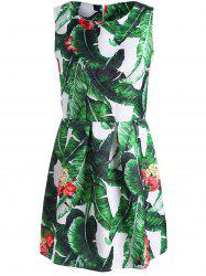 Palm Leaf Print Mini Dress