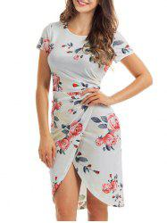 Slit Knotted Floral Dress