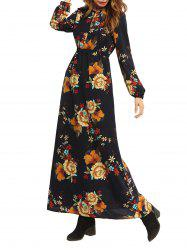 High Waist Maxi Flower Print Dress