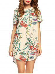 Flower Print Short Sleeve Tunic Dress