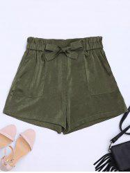 Casual Elastic Waist Self Tie Shorts - ARMY GREEN