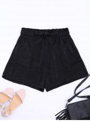 Casual Elastic Waist Self Tie Shorts - BLACK