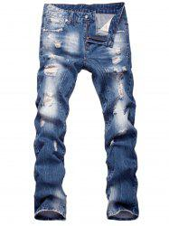 Faded Straight Leg Zipper Fly Distressed Jeans