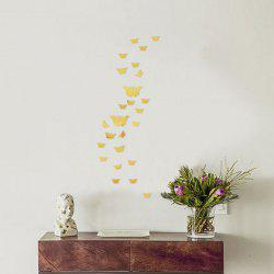 25 PCS Butterflies Removable Mirror Wall Stickers - GOLDEN
