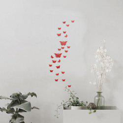 25 PCS Butterflies Removable Mirror Wall Stickers - RED