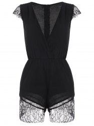 Lace Panel V Neck Romper
