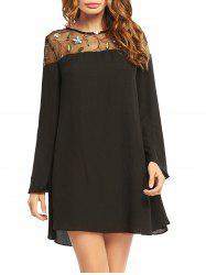 Embroideried Lace Trim Long Sleeve Chiffon Dress - BLACK